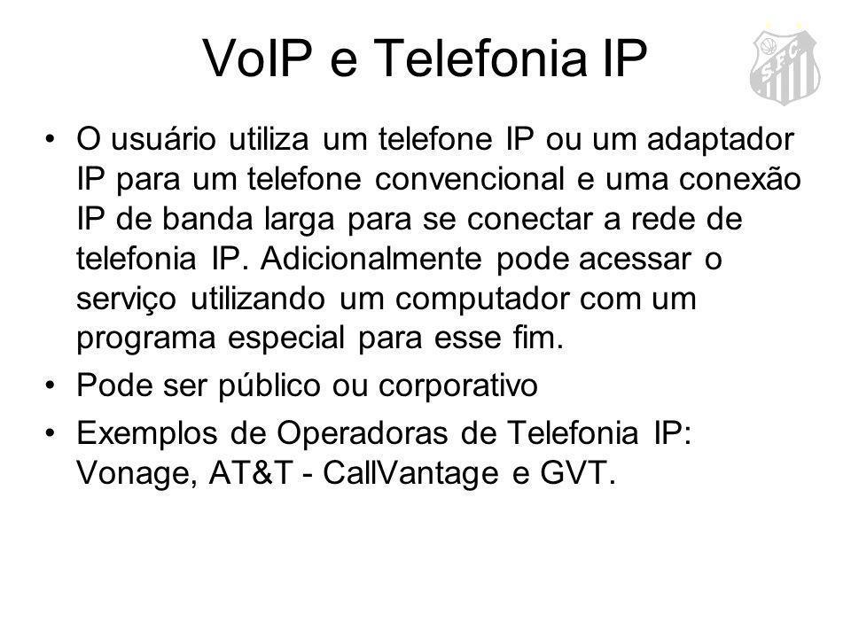 VoIP e Telefonia IP O usuário utiliza um telefone IP ou um adaptador IP para um telefone convencional e uma conexão IP de banda larga para se conectar