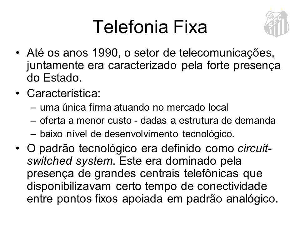 Telefonia Fixa Até os anos 1990, o setor de telecomunicações, juntamente era caracterizado pela forte presença do Estado. Característica: –uma única f