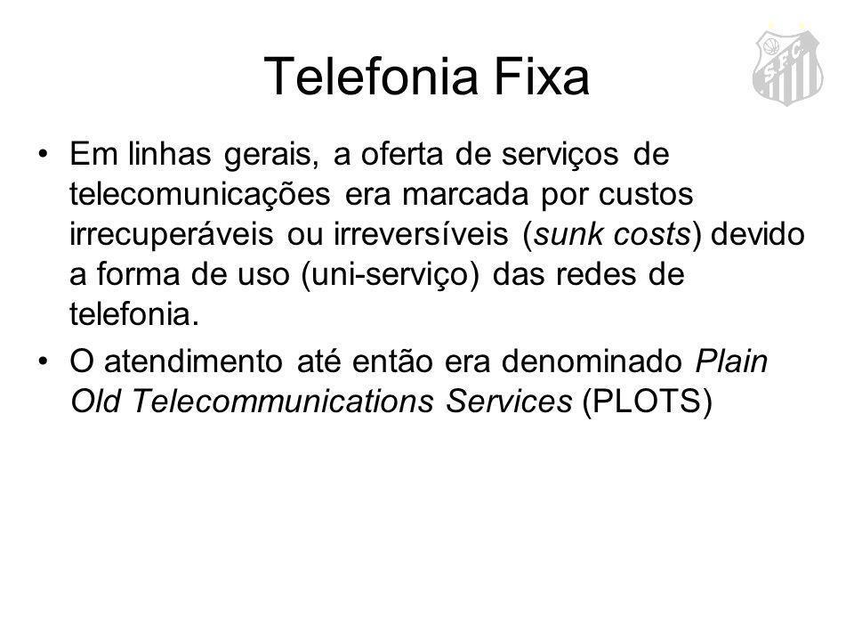 Telefonia Fixa Em linhas gerais, a oferta de serviços de telecomunicações era marcada por custos irrecuperáveis ou irreversíveis (sunk costs) devido a