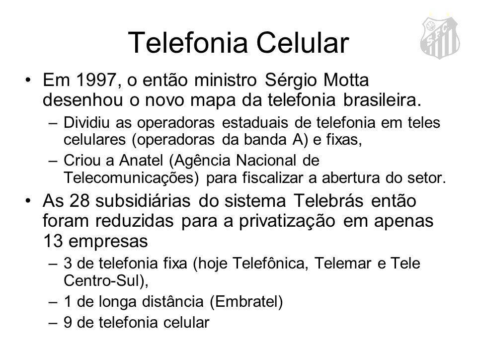 Telefonia Celular Em 1997, o então ministro Sérgio Motta desenhou o novo mapa da telefonia brasileira. –Dividiu as operadoras estaduais de telefonia e