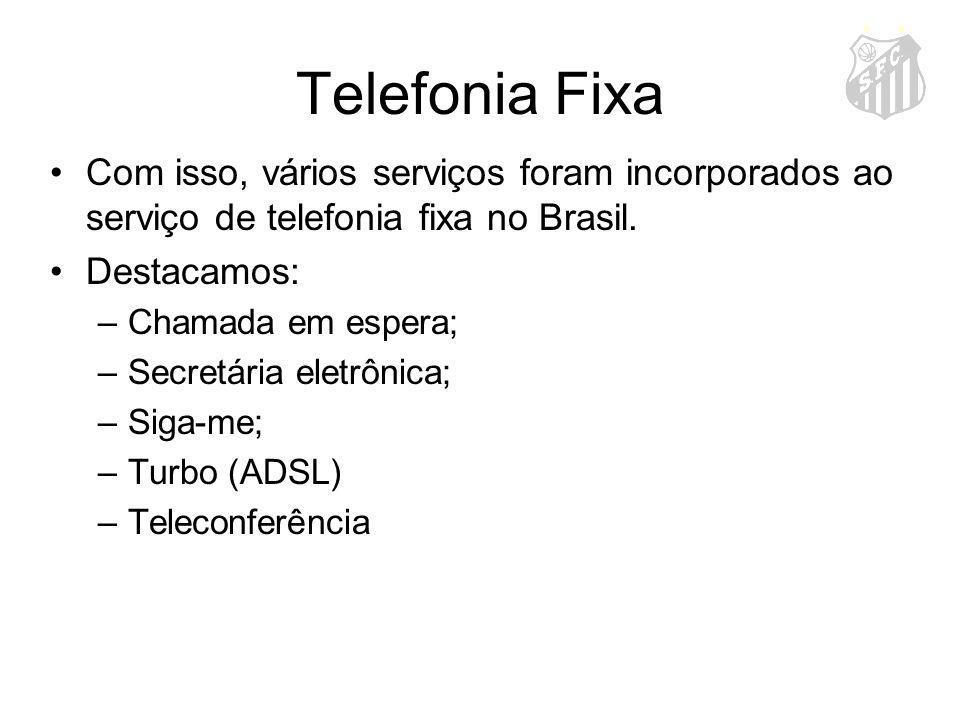 Telefonia Fixa Com isso, vários serviços foram incorporados ao serviço de telefonia fixa no Brasil. Destacamos: –Chamada em espera; –Secretária eletrô