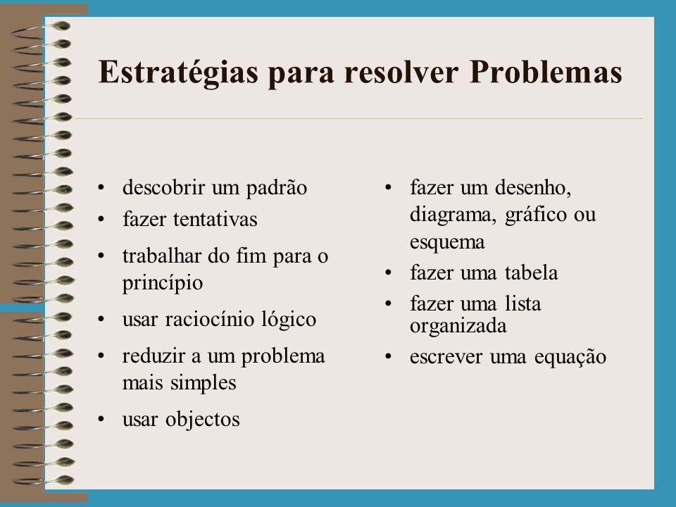 Estratégias para resolver Problemas descobrir um padrão fazer tentativas trabalhar do fim para o princípio usar raciocínio lógico reduzir a um problema mais simples usar objectos fazer um desenho, diagrama, gráfico ou esquema fazer uma tabela fazer uma lista organizada escrever uma equação