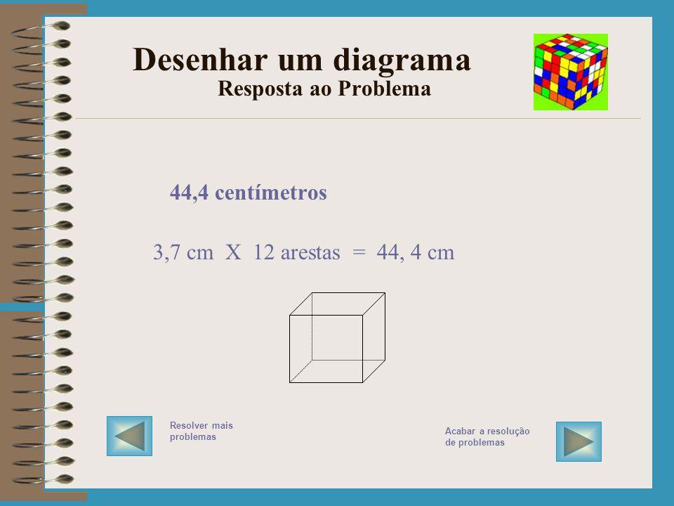 Desenhar um diagrama Resolver o Problema COMPREENDER o problema Que medidas são dadas? Qual é a questão? FAZER o plano / RESOLVER o problema VERIFICA
