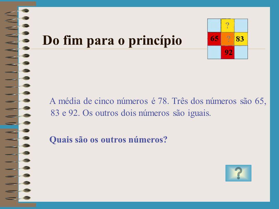 Usar uma equação Resposta ao Problema 127 Dividindo 380 e 390 por 3 verifica-se que o resultado está entre 126 e 130. Dividindo 500 e 501 por 4 verifi