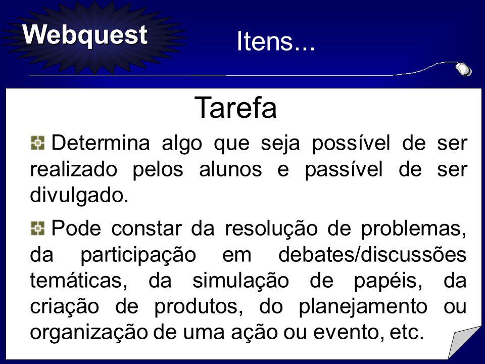Webquest Tarefa Determina algo que seja possível de ser realizado pelos alunos e passível de ser divulgado. Determina algo que seja possível de ser re