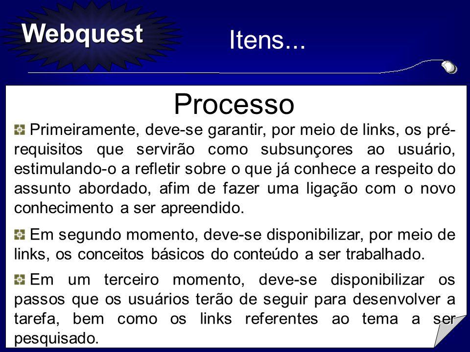 Webquest Primeiramente, deve-se garantir, por meio de links, os pré- requisitos que servirão como subsunçores ao usuário, estimulando-o a refletir sob
