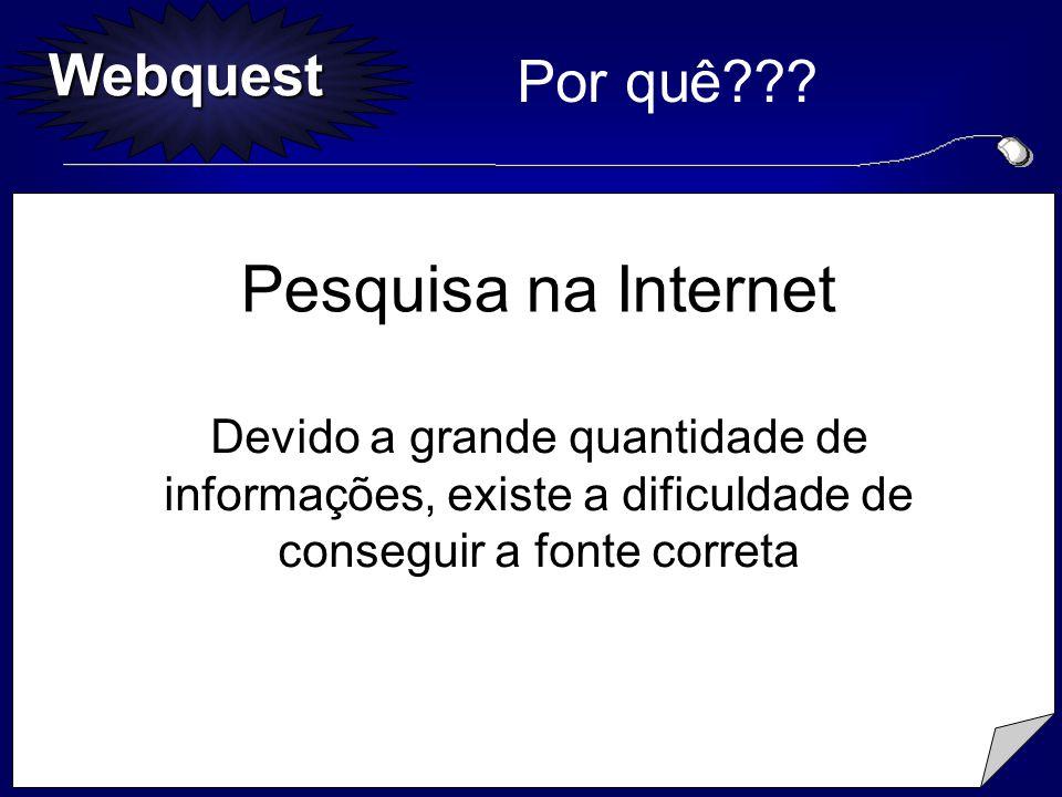 Webquest Por quê??? Pesquisa na Internet Devido a grande quantidade de informações, existe a dificuldade de conseguir a fonte correta