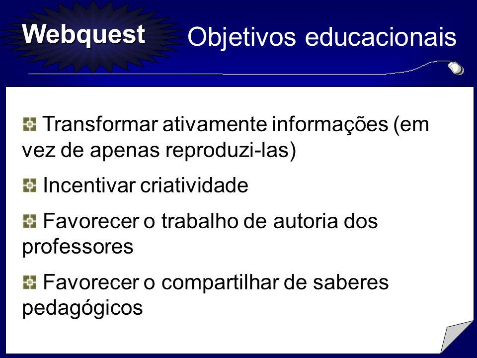 Webquest Destinatários Informa-se o público para o qual foi desenvolvida a Webquest. Itens...