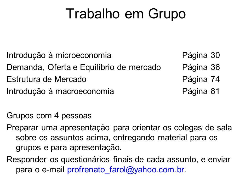 Trabalho em Grupo Introdução à microeconomiaPágina 30 Demanda, Oferta e Equilíbrio de mercadoPágina 36 Estrutura de MercadoPágina 74 Introdução à macr