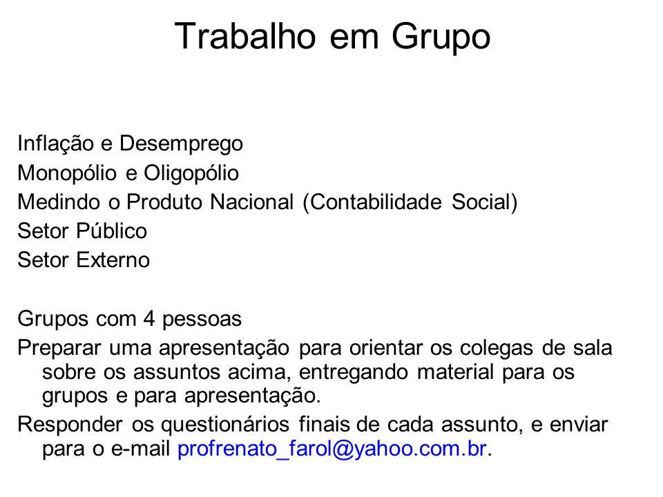 Trabalho em Grupo Inflação e Desemprego Monopólio e Oligopólio Medindo o Produto Nacional (Contabilidade Social) Setor Público Setor Externo Grupos co