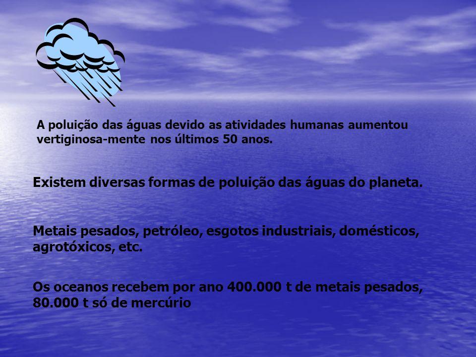 Existem diversas formas de poluição das águas do planeta. Metais pesados, petróleo, esgotos industriais, domésticos, agrotóxicos, etc. A poluição das