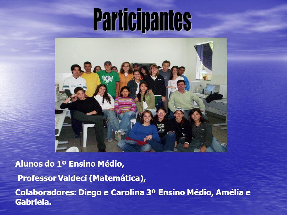 Alunos do 1º Ensino Médio, Professor Valdeci (Matemática), Colaboradores: Diego e Carolina 3º Ensino Médio, Amélia e Gabriela.