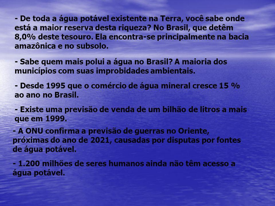 - De toda a água potável existente na Terra, você sabe onde está a maior reserva desta riqueza? No Brasil, que detêm 8,0% deste tesouro. Ela encontra-