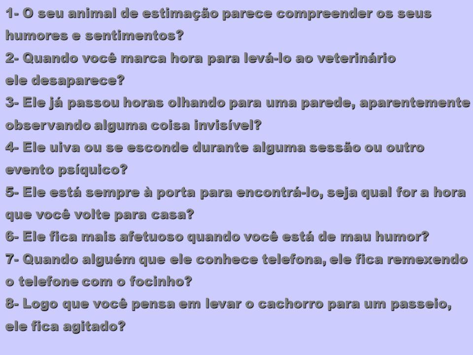 1- O seu animal de estimação parece compreender os seus humores e sentimentos? 2- Quando você marca hora para levá-lo ao veterinário ele desaparece? 3