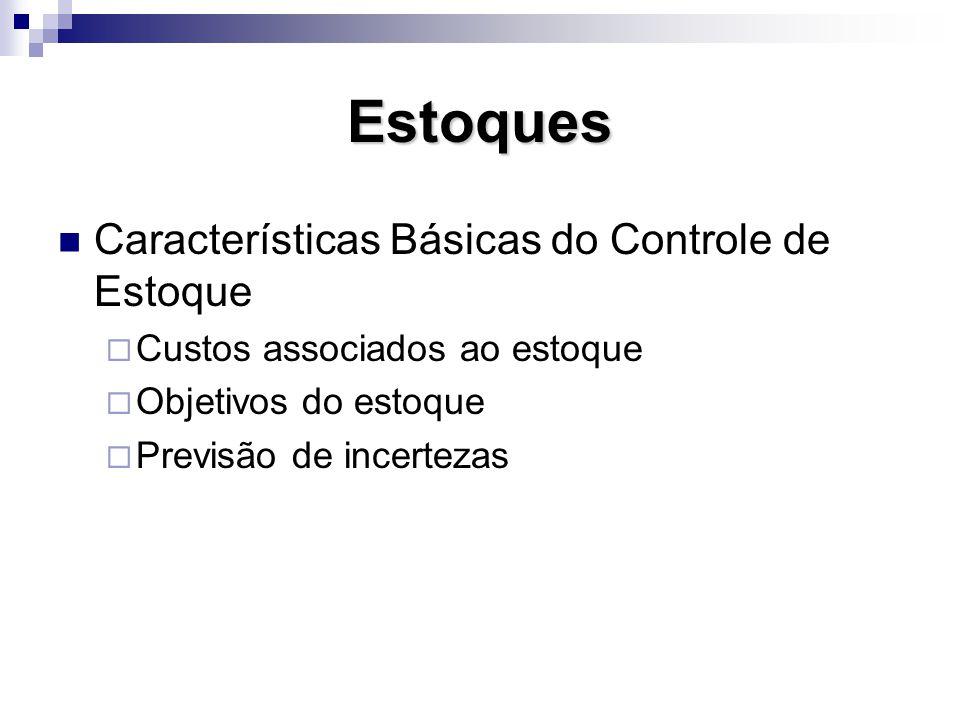 Estoques Características Básicas do Controle de Estoque Custos associados ao estoque Objetivos do estoque Previsão de incertezas