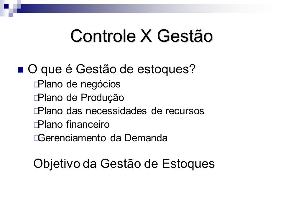 Controle X Gestão O que é Gestão de estoques.