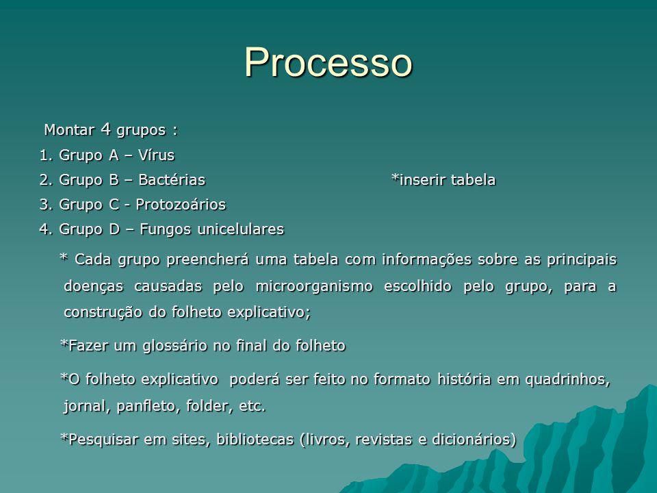 Processo Montar 4 grupos : Montar 4 grupos : 1. Grupo A – Vírus 2.