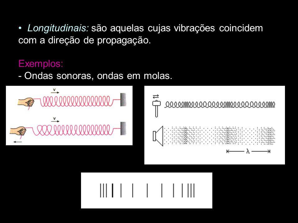 Longitudinais: são aquelas cujas vibrações coincidem com a direção de propagação. Exemplos: - Ondas sonoras, ondas em molas.