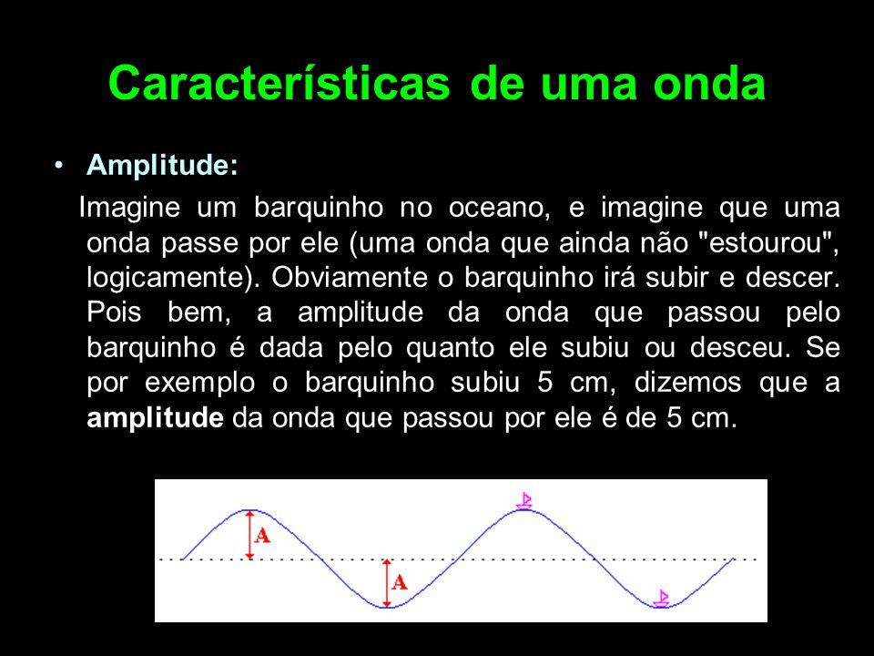 Características de uma onda Amplitude: Imagine um barquinho no oceano, e imagine que uma onda passe por ele (uma onda que ainda não