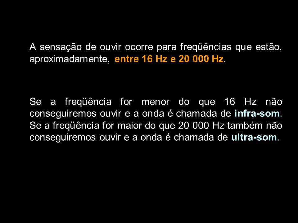 A sensação de ouvir ocorre para freqüências que estão, aproximadamente, entre 16 Hz e 20 000 Hz. Se a freqüência for menor do que 16 Hz não conseguire