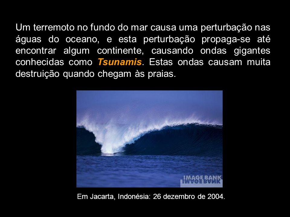 Um terremoto no fundo do mar causa uma perturbação nas águas do oceano, e esta perturbação propaga-se até encontrar algum continente, causando ondas g