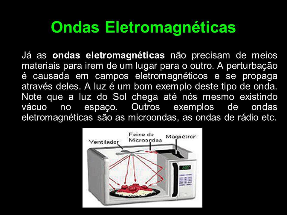 Ondas Eletromagnéticas Já as ondas eletromagnéticas não precisam de meios materiais para irem de um lugar para o outro. A perturbação é causada em cam