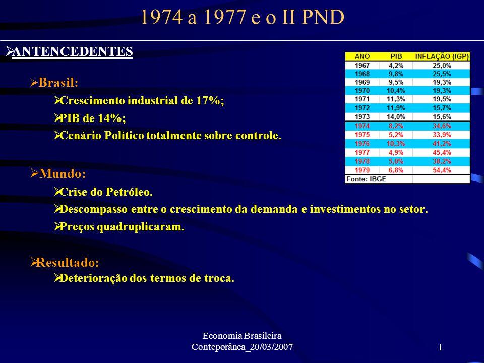 Economia Brasileira Conteporânea_20/03/20071 1974 a 1977 e o II PND ANTENCEDENTES Brasil: Crescimento industrial de 17%; PIB de 14%; Cenário Político totalmente sobre controle.