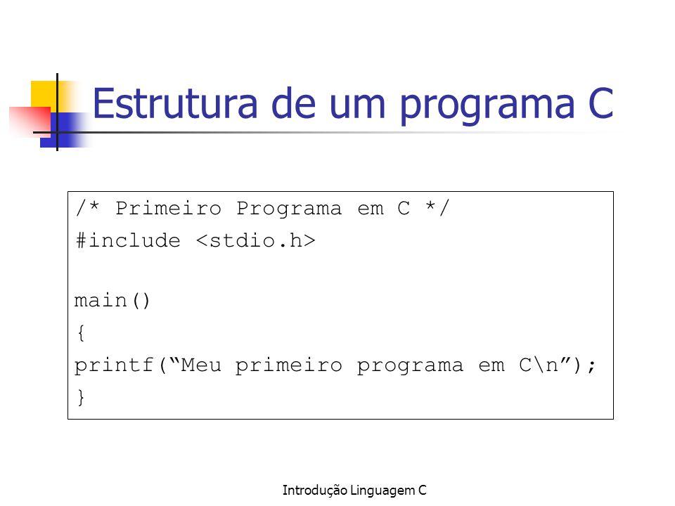 Introdução Linguagem C Estrutura de um programa C /* Primeiro Programa em C */ #include main() { printf(Meu primeiro programa em C\n); }