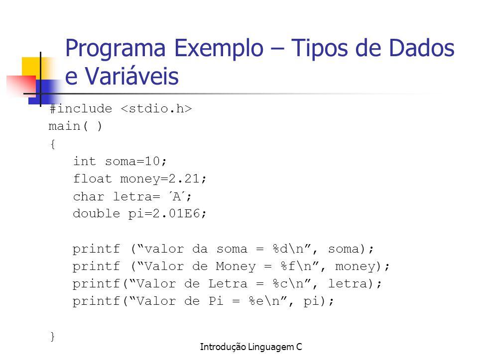 Introdução Linguagem C Programa Exemplo – Tipos de Dados e Variáveis #include main( ) { int soma=10; float money=2.21; char letra= ´A´; double pi=2.01