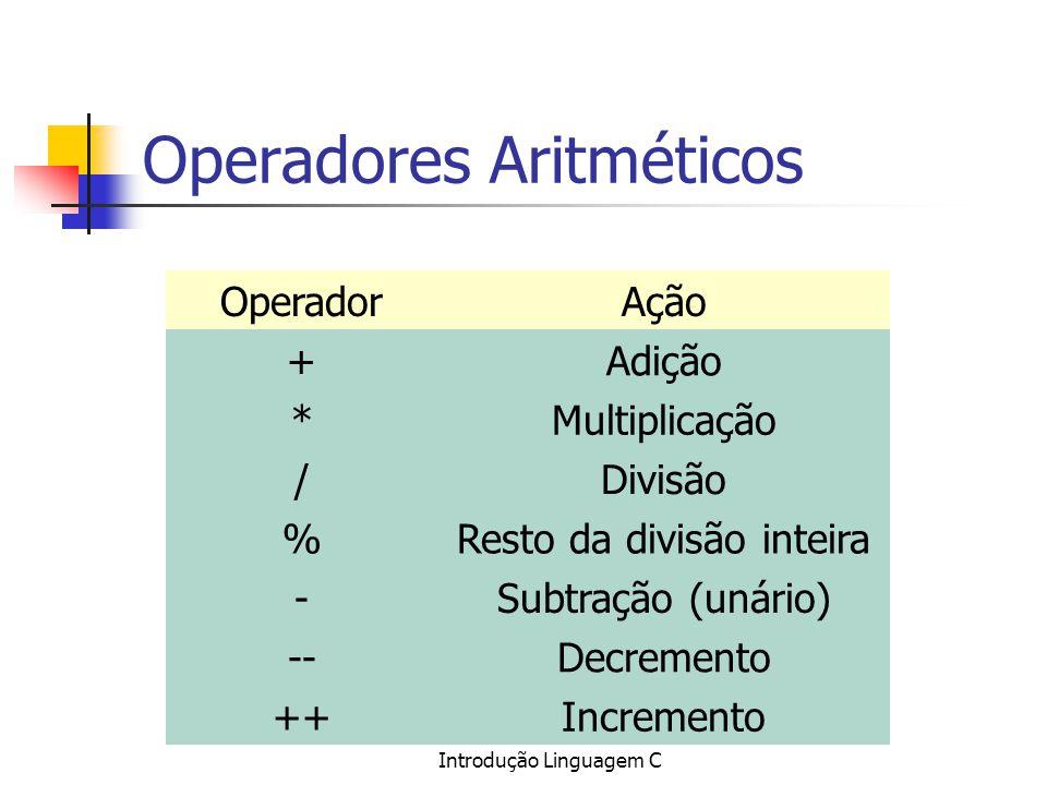 Introdução Linguagem C Operadores Aritméticos OperadorAção +Adição *Multiplicação /Divisão %Resto da divisão inteira -Subtração (unário) --Decremento