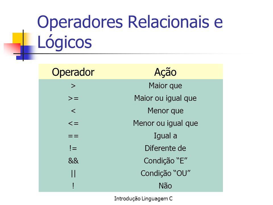 Introdução Linguagem C Operadores Relacionais e Lógicos OperadorAção >Maior que >=Maior ou igual que <Menor que <=Menor ou igual que ==Igual a !=Difer