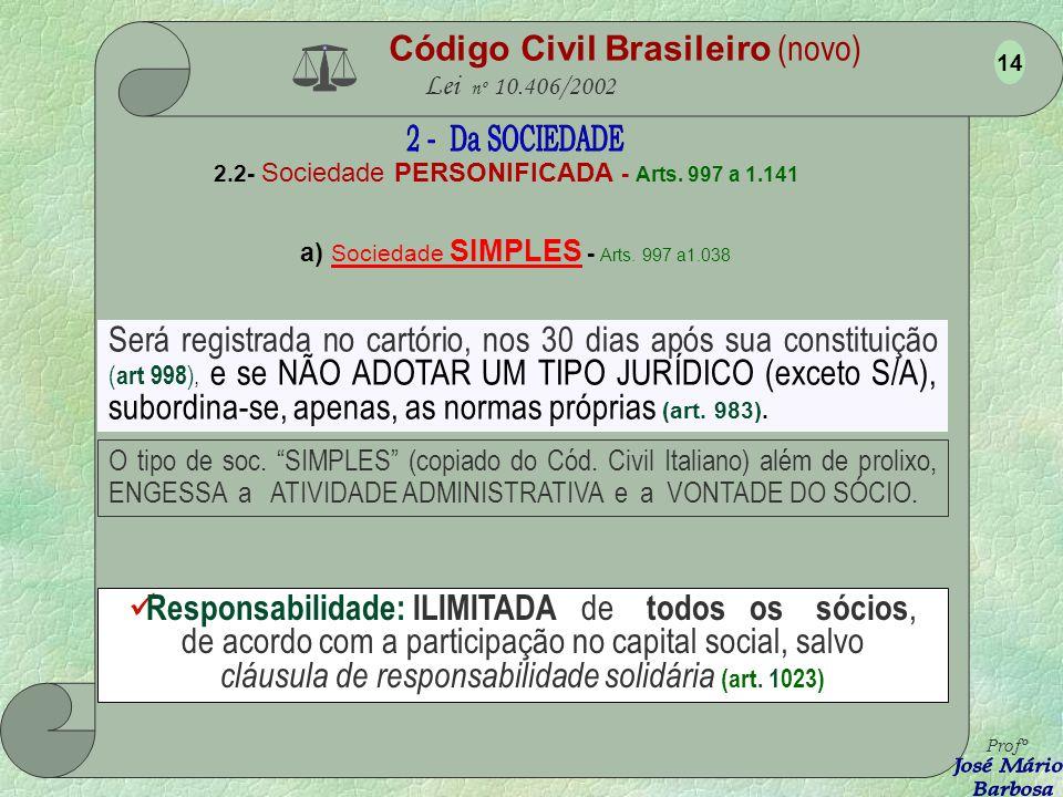 Código Civil Brasileiro (novo) Lei nº 10.406/2002 2.1- Sociedade NÃO PERSONIFICADA - Art.s 986 a 996 É a que não tem o ato constitutivo registrado na Junta Comercial ou no Cartório.