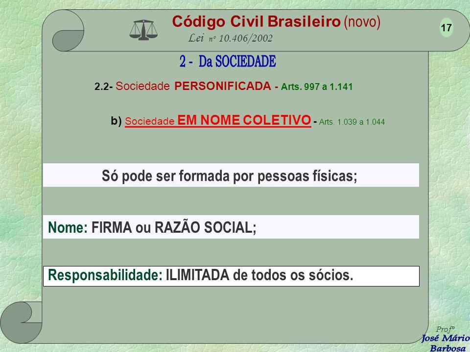 Código Civil Brasileiro (novo) Lei nº 10.406/2002 2.2- Sociedade PERSONIFICADA - Arts. 997 a 1.141 a) Sociedade SIMPLES - Arts. 997 a1.038 Profº 16 Se