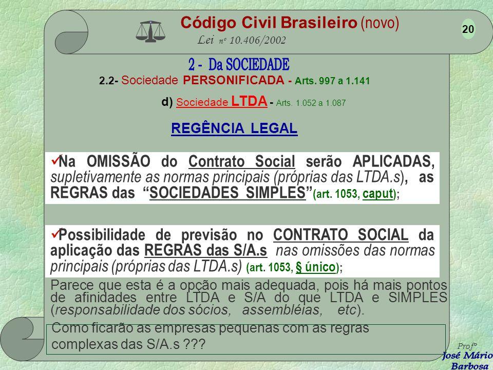 Código Civil Brasileiro (novo) Lei nº 10.406/2002 2.2- Sociedade PERSONIFICADA - Arts. 997 a 1.141 d) Sociedade LTDA - Arts. 1.052 a 1.087 Responsabil