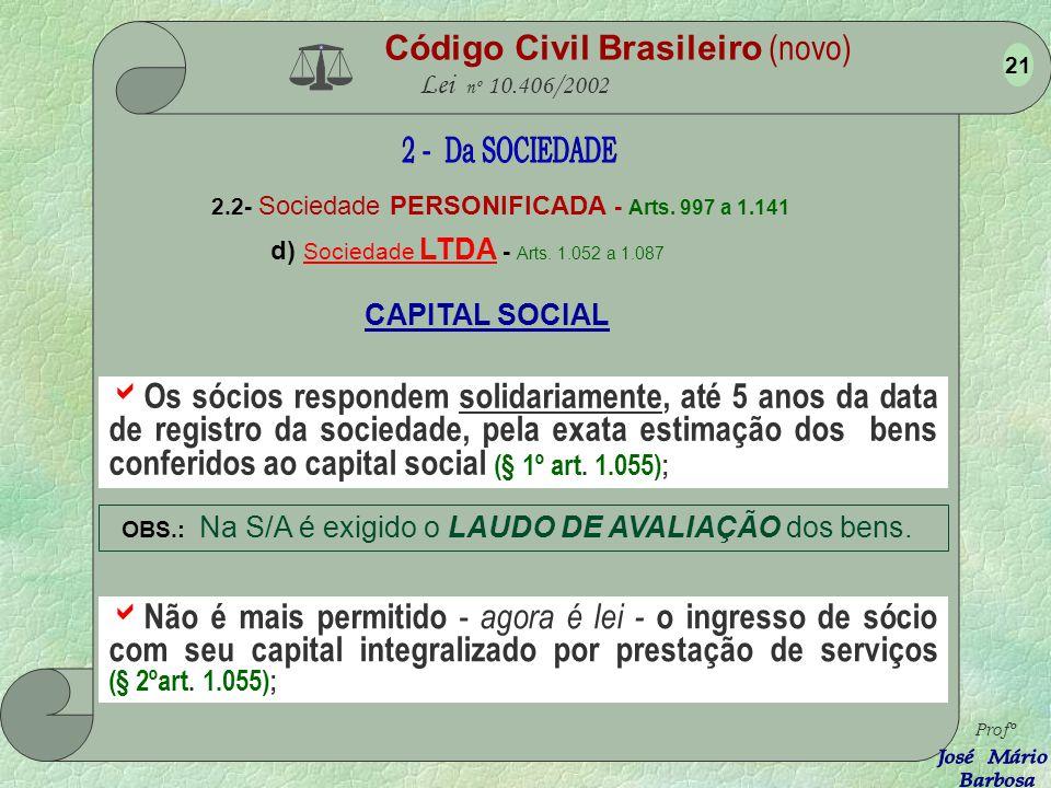 Código Civil Brasileiro (novo) Lei nº 10.406/2002 2.2- Sociedade PERSONIFICADA - Arts. 997 a 1.141 d) Sociedade LTDA - Arts. 1.052 a 1.087 Profº 20 Po