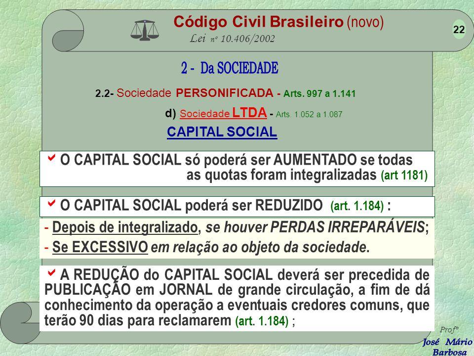 Código Civil Brasileiro (novo) Lei nº 10.406/2002 2.2- Sociedade PERSONIFICADA - Arts. 997 a 1.141 d) Sociedade LTDA - Arts. 1.052 a 1.087 Profº 21 Os