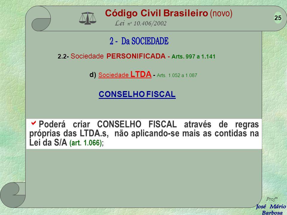 Código Civil Brasileiro (novo) Lei nº 10.406/2002 2.2- Sociedade PERSONIFICADA - Arts. 997 a 1.141 d) Sociedade LTDA - Arts. 1.052 a 1.087 Profº 24 A