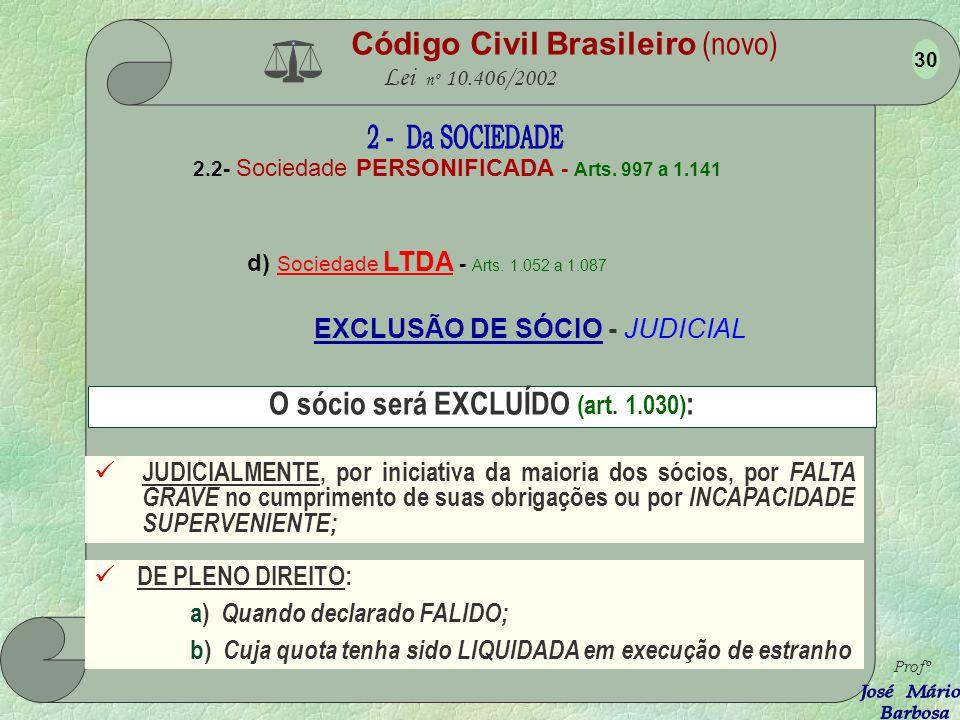 Código Civil Brasileiro (novo) Lei nº 10.406/2002 2.2- Sociedade PERSONIFICADA - Arts. 997 a 1.141 d) Sociedade LTDA - Arts. 1.052 a 1.087 Profº 29 DE