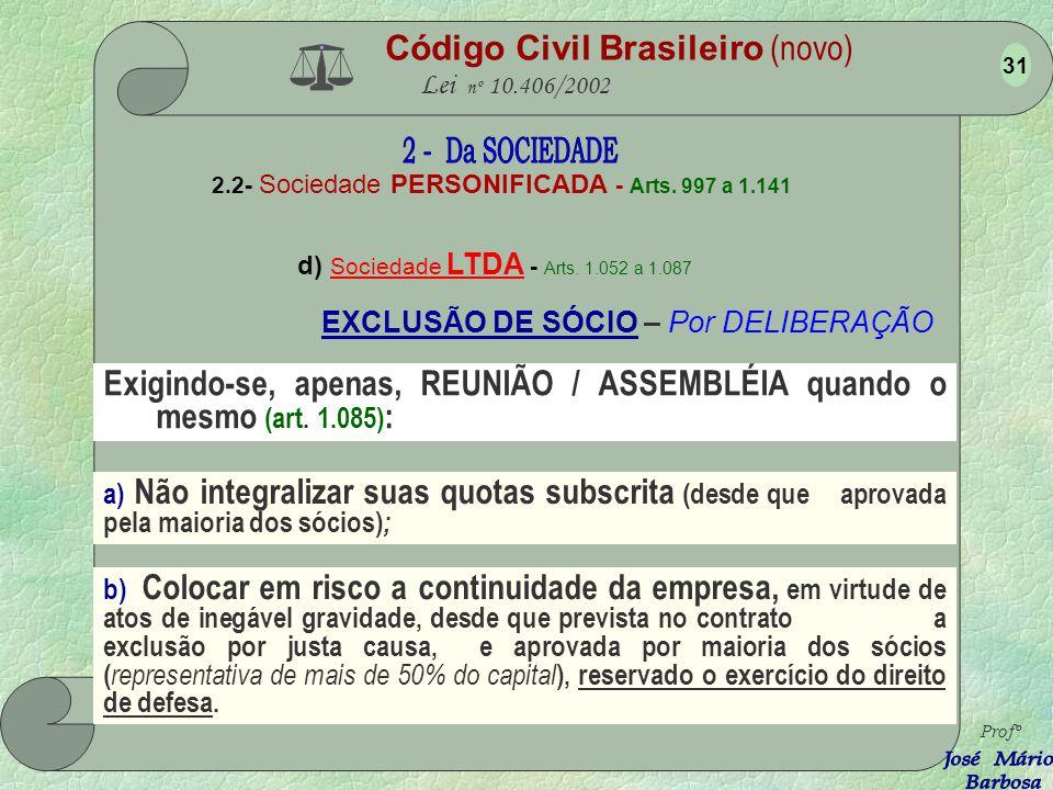 Código Civil Brasileiro (novo) Lei nº 10.406/2002 2.2- Sociedade PERSONIFICADA - Arts. 997 a 1.141 d) Sociedade LTDA - Arts. 1.052 a 1.087 Profº 30 O