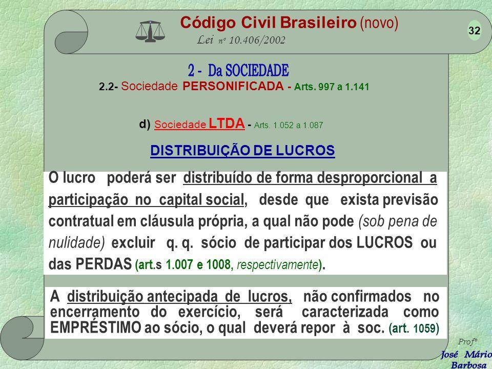Código Civil Brasileiro (novo) Lei nº 10.406/2002 2.2- Sociedade PERSONIFICADA - Arts. 997 a 1.141 d) Sociedade LTDA - Arts. 1.052 a 1.087 Profº 31 Ex