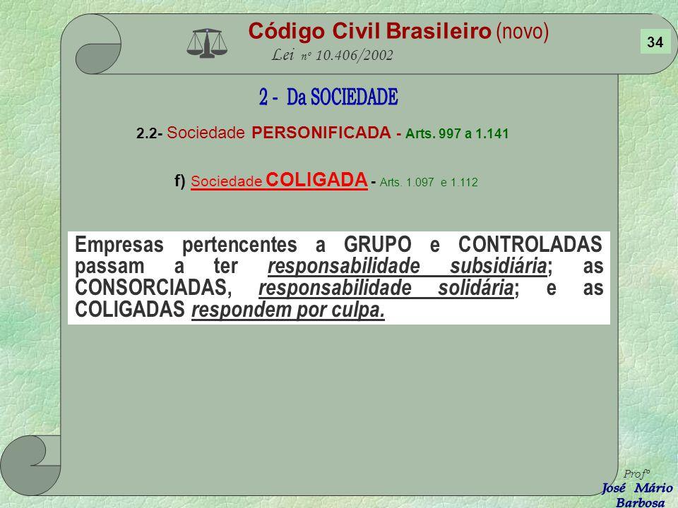 Código Civil Brasileiro (novo) Lei nº 10.406/2002 2.2- Sociedade PERSONIFICADA - Arts. 997 a 1.141 e) Sociedade ANÔNIMA - Arts. 1.088 e 1.089 A S/A fo