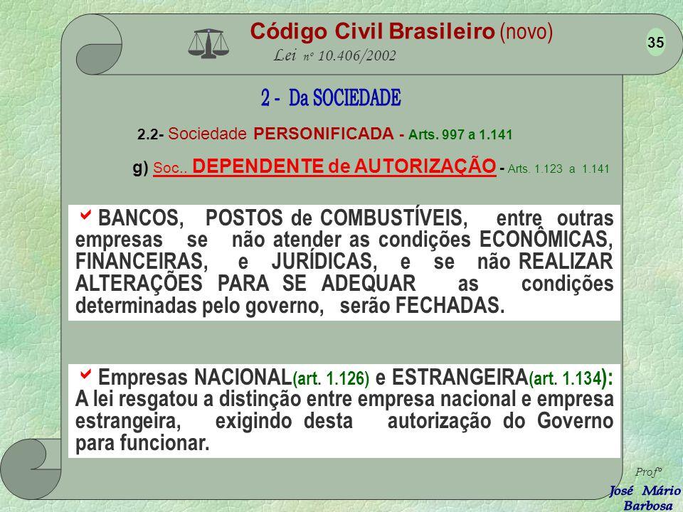 Código Civil Brasileiro (novo) Lei nº 10.406/2002 2.2- Sociedade PERSONIFICADA - Arts. 997 a 1.141 f) Sociedade COLIGADA - Arts. 1.097 e 1.112 Empresa