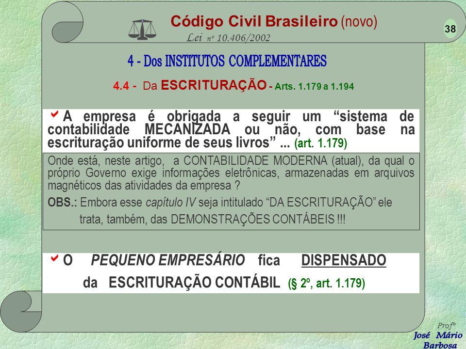 Código Civil Brasileiro (novo) Lei nº 10.406/2002 4.3 - Dos PREPOSTOS - Arts. 1.169 a 1.178 O GERENTE é todo o funcionário que, hoje, exerce função de
