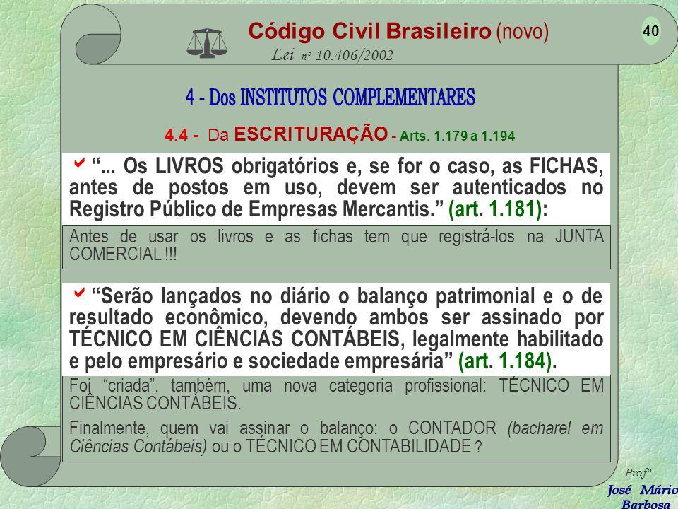Código Civil Brasileiro (novo) Lei nº 10.406/2002 4.4 - Da ESCRITURAÇÃO - Arts. 1.179 a 1.194... É indispensável o DIÁRIO, que pode ser substituído po