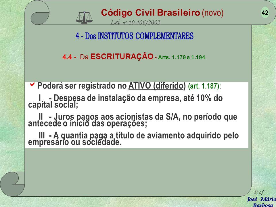 Código Civil Brasileiro (novo) Lei nº 10.406/2002 4.4 - Da ESCRITURAÇÃO - Arts. 1.179 a 1.194 O empresário ou sociedade empresária que adotar o sistem