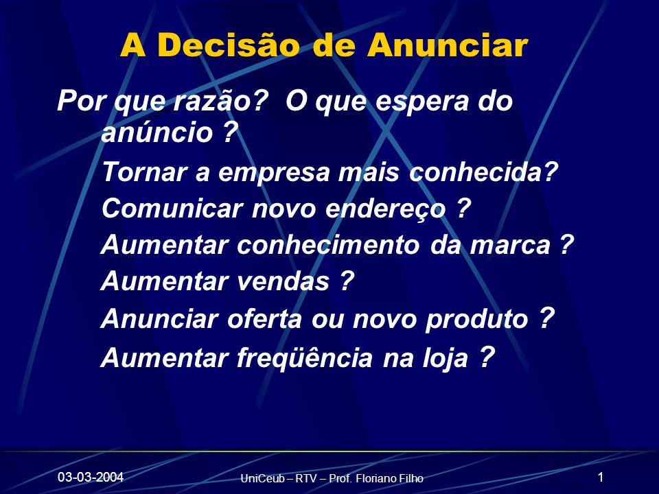 03-03-2004 UniCeub – RTV – Prof. Floriano Filho 1 A Decisão de Anunciar Por que razão.