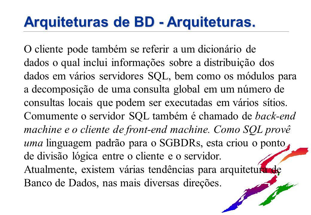 Arquiteturas de BD - Arquiteturas. O cliente pode também se referir a um dicionário de dados o qual inclui informações sobre a distribuição dos dados