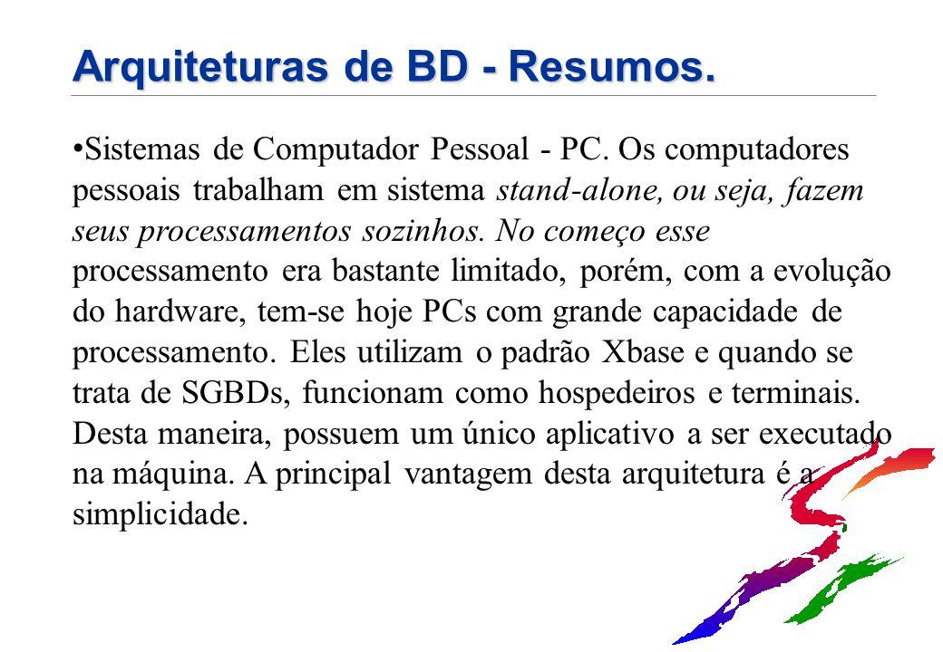 Arquiteturas de BD - Resumos. Sistemas de Computador Pessoal - PC. Os computadores pessoais trabalham em sistema stand-alone, ou seja, fazem seus proc