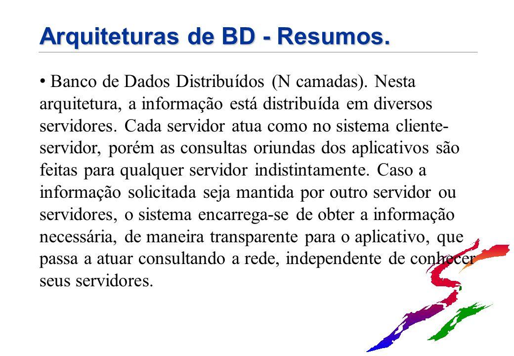 Arquiteturas de BD - Resumos. Banco de Dados Distribuídos (N camadas). Nesta arquitetura, a informação está distribuída em diversos servidores. Cada s