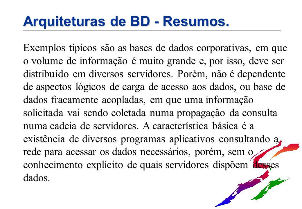 Arquiteturas de BD - Resumos. Exemplos típicos são as bases de dados corporativas, em que o volume de informação é muito grande e, por isso, deve ser